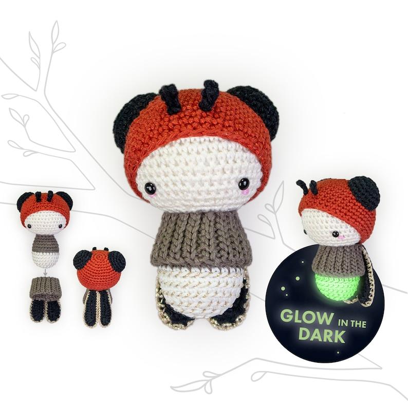 lalylala FIREFLY crochet pattern glowworm  Glow in the Dark  image 0