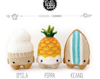4 seasons: SUMMER (ice cream, pineapple, surfboard) • lalylala crochet pattern / amigurumi