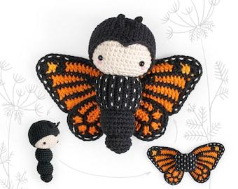 lalylala crochet pattern MONARCH butterfly, amigurumi caterpillar toy with interchangeable wings, DIY