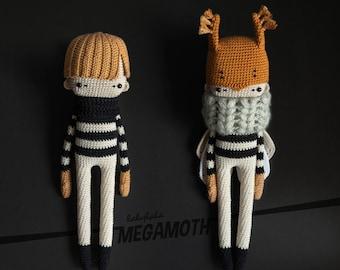 Crochet Pattern MegaMoth Mortimer lalylala Superherumi for little & grown-up Superheroes, Amigurumi Villain, Dress Up Doll with Mask, Cape