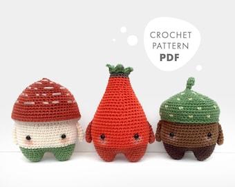 4 seasons: AUTUMN (toadstool, rose hip, acorn) • lalylala crochet pattern / amigurumi