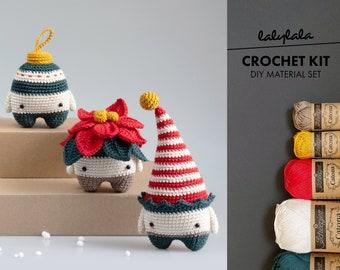 Christmas DIY crochet craft kit, lalylala amigurumi set : Poinsettia, Christmas Elf, Bauble Ornament, material pack, tree decorations, x-mas