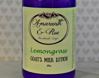 Goat's Milk Lotion   Lemongrass   Amaranth & Rue Handmade   16 ounce