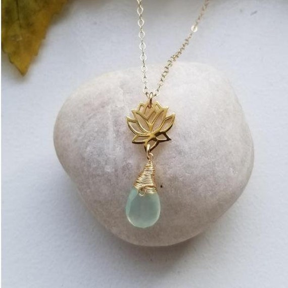 Gold Lotus Flower Necklace Wire Wrapped Aqua Chalcedony Yoga Etsy