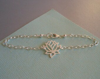 Lotus Flower Bracelet, Yoga Jewelry, Gift For Best Friend, Sterling Silver Bracelet, Lotus Jewelry, Thin Silver Bracelet, Everyday Bracelet