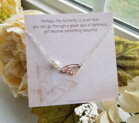 Inspirational Jewelry Sister Gift Silver Wing and Pearl Bracelet Dainty Silver Bracelet Butterfly Wing Bracelet Birthday Gift