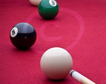 Billiards Photograph, Instant Download, Pool Table Clipart, Cue Stick, Sports Photo, Stock Image, Red, Recreation Photo, Eight Ball Photo