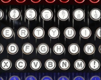 Typewriter Photography, Vertical Panorama Wall Art, Manual Typewriter Photograph, Home or Office Decor, Archival Print, Red White Blue