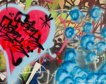 Graffiti Photograph, Urban Art, Musical Heart Photo, Wall Art, Home Decor, Street Art Decor, Modern, Edgy Art, Red, Blue, Brown, Archival