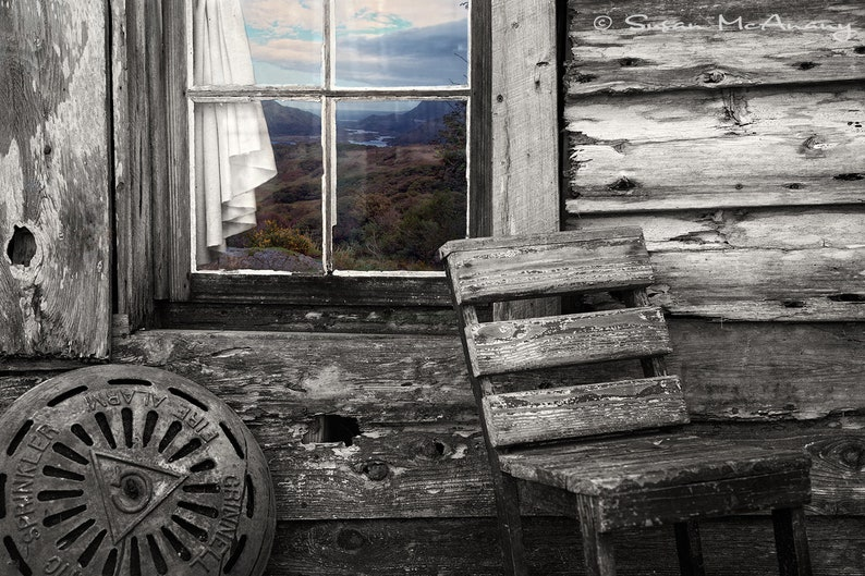 Wood Cabin Print with Rural Color Landscape Black and White image 0
