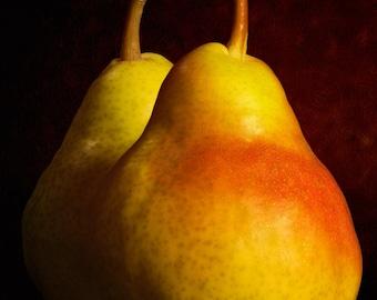 Food Photograph Prints, Pear Art Print, Food Art Print, Fruit Art Print, Wall Kitchen Art, Yellow, Red, Pear Photograph, Fruit Photo