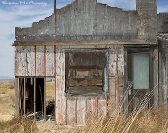 Southwest Art, Deserted Building, Architecture Photography, Landscape Photograph, Tumbleweeds, Color Art Photograph, Home Decor, 15x20 Art