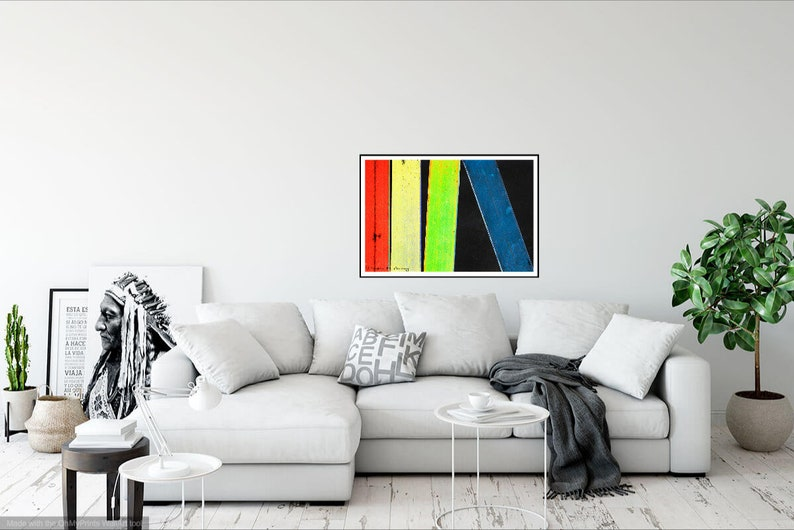 Colorful Abstract Art Print on Black Modern Chalk Photograph image 0