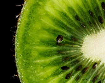 Kiwi Art Photograph, Food Print, Fruit Print, Kitchen Wall Decor, Modern Home Decor, Modern Wall Art, Macro Photography, Black, Green