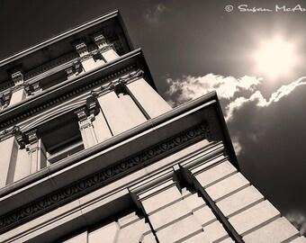 Black and White Photograph, Urban Building, 16 x 24 Print, Architecture Photography, Photo of Building, Cityscape, Home Decor, Wall Art