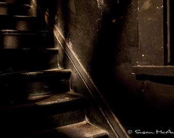 Architectural Photograph, Brown Wooden Steps, Staircase Photo, Dramatic Lighting, Photo Art Print, Building, Photography, Modern Art