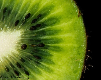 Kiwi Art Photograph, Food Art, Fruit Photograph, Modern Photo Print, Wall Art, Macro Photography, Black, Green, Fruit Pie, Fruit Art