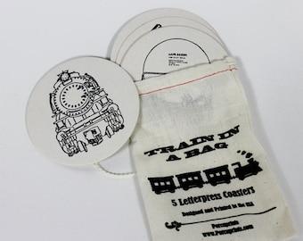 Train Coasters Letterpress Novelty Gift Set