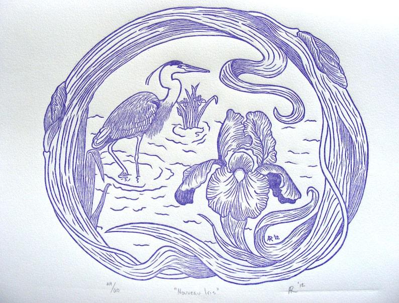 Nouveau Purple Iris & Heron Art Wood Engraving Print image 0