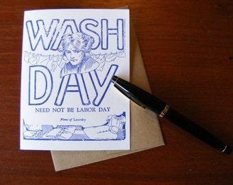 Letterpress Greeting Card Wash Day Vintage Printers Block Blank Inside with Envelope A2