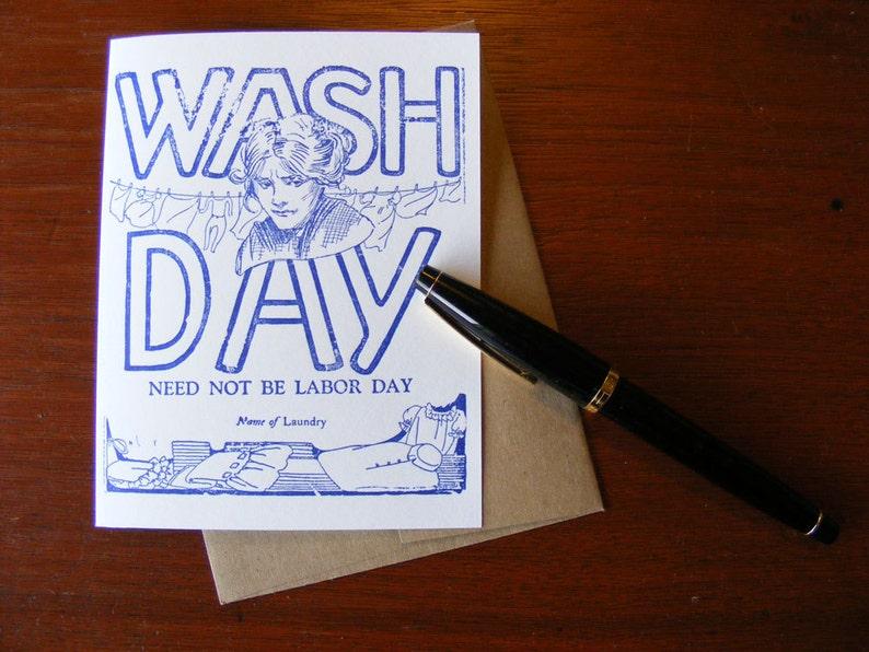 Letterpress Greeting Card Wash Day Vintage Printers Block image 0