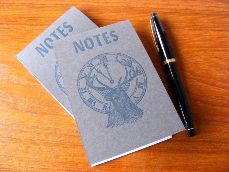Elk Notes Blue Gray Letterpress Notepad image 0