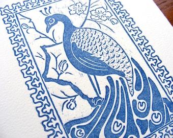 Blue Peacock Art Nouveau Japonism Wood Engraving - Original, Handcarved & Printed, Limited Edition