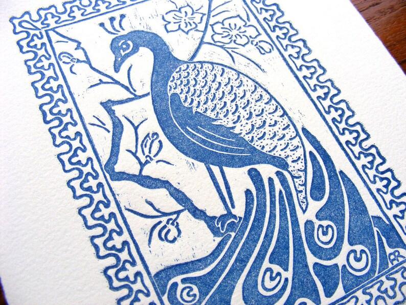 Blue Peacock Art Nouveau Japonism Wood Engraving  Original image 0