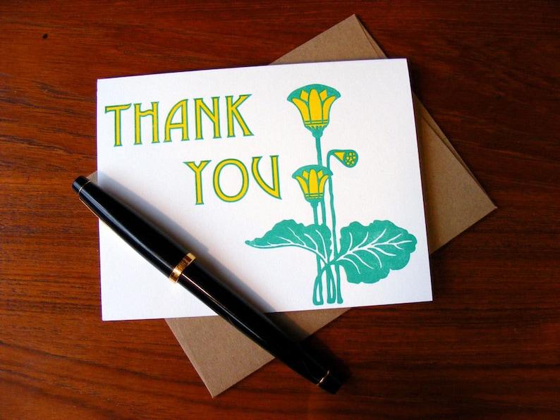 Thank You Card Letterpress Green Yellow Spring Art Nouveau A2 image 0