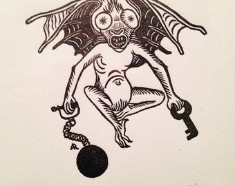 Medieval Bat creature demon Grotesque original hand pulled print