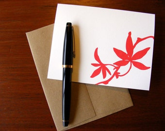 Red Leaf Letterpress Greeting Card Nature Autumn A2 with Envelope Blank Inside