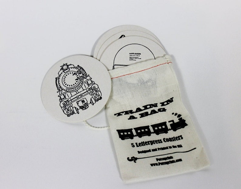 Train Coasters Letterpress Novelty Gift Set image 0