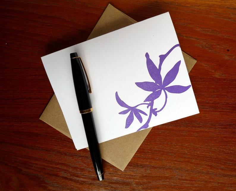 Purple Leaf Letterpress Greeting Card Nature Nouveau A2 with image 0