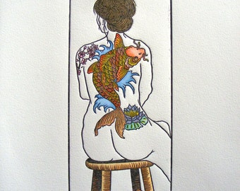 Tattooed Woman Nude Colored Koi Cherry Blossom Lily Wave Woodblock Print Yellow Orange Red