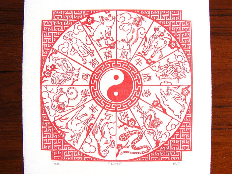 Chinese New Year Zodiac Red Wood Engraving image 0