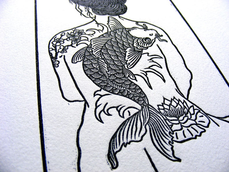 Tattooed Woman Nude Koi Cherry Blossom Lily Wave Woodblock image 0