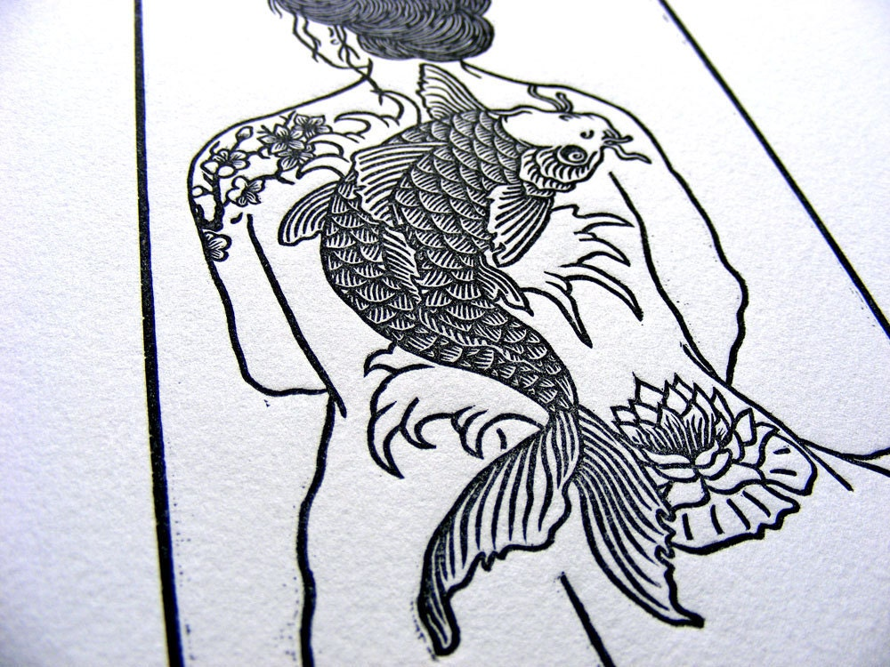 Tattooed Woman Nude Koi Cherry Blossom Lily Wave Woodblock -3154