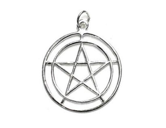 Double circle pentagram pendant sterling silver pentacle etsy image 0 aloadofball Choice Image