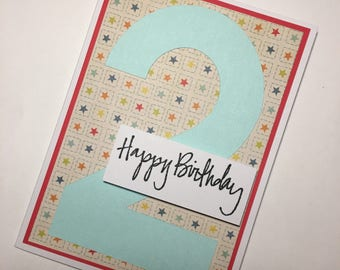 2nd Birthday Greeting Card **READY TO SHIP**