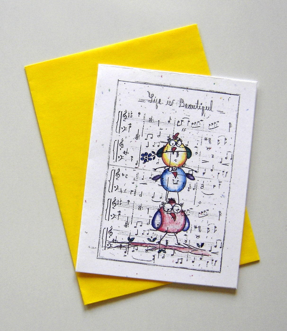 Birds Greeting Card Music Sheet Plain Birthday Fun Card Party Etsy
