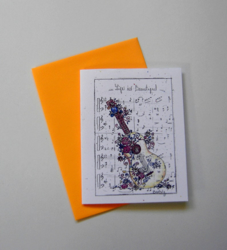 Guitar Greeting Card Music Piano Teacher