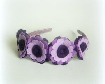 Baby purple headband light dark purple hairbands baby headband girls hair bands women flower hair band violet hairband handmade flowers