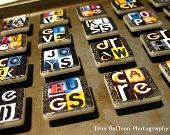 FRIDGE ART MAGNETS Custom 4-Letter Words
