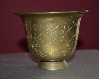 Antique Turkish Islamic Persian Lassi Cup Bird-head Serpent Solid Brass SIGNED!
