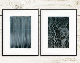 Art print set, monotype prints, monoprints, original art prints, fine art prints, abstract print set, handmade prints, linoblock prints