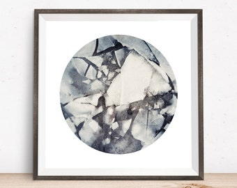 Ice, winter photo, winter art, snowy art, circle art, circle print, nature art, nature landscapes, abstract art prints, blue and white, icy