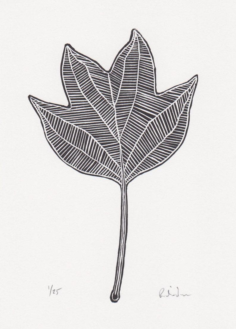 b2c3edc861 Block print  Tulip Tree leaf limited edition hand pulled
