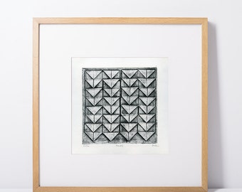 "Original 6x6"" collagraph fine art print - ""Folds"", collagraphs, original prints, abstract prints, small art prints, geometric art prints"