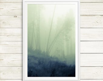 misty forest, foggy forest, forest art print, forest photography, dreamscapes, vertical abstract art, large green poster, green forest art