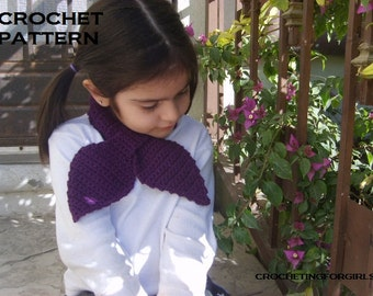 PATTERN PDF-FILE crochet leafy keyhole neckwarmer/scarf for girl and adult